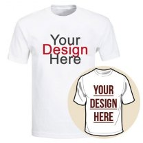 Custom Tshirt Printing With Your Photo and Text (White Round Neck) - M, L, XL