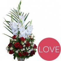 Red Roses and White Glad Love Basket