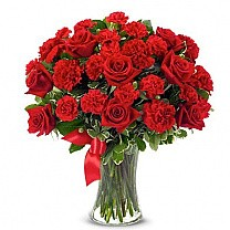 Beautiful Red Arrangement Vase (10 Red Roses and 15 Red Carnations with Fillers)