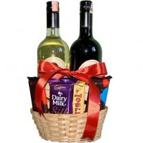 Double Wine Bottles with Chocolates Basket