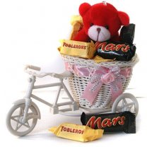 Miniature Dozen Chocolates Filled Rickshaw with Teddy