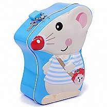 Mouse Design Piggy Bank For Kids 7'' - Blue