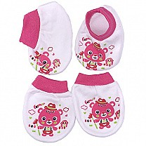 Pairs Of Baby Booties & Gloves - Pink