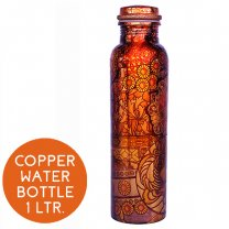 Pure Copper Water Bottle Printed Design (03) - 1 Litre