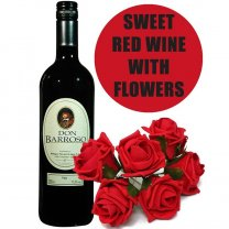 Sweet Red Wine With 6 Red Roses Bouquet