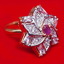 Pink Stone Studded Beautiful Flower Design Ring