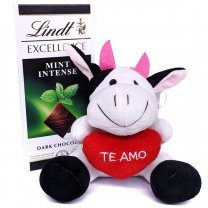 Lindt Excellence Mint Intense Dark Chocolate With Mini Cow Soft Toy
