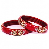 Red Color Glass Bangles 2 pcs Set (Size 2-4)