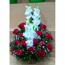 Red Roses With White Glad Arranged in Basket