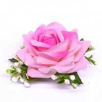 Pink Rose Velvet Hair Flower Clip
