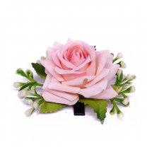 Light Pink Rose Velvet Hair Flower Clip