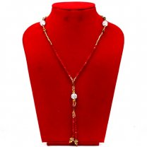 Red & Golden Pote Mala With White Beads