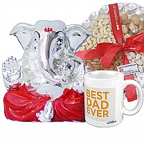 Silver wax ganesh ji (Red) with Dry Nuts Tray & Best Dad Ever Mug (SLV-9002WX)