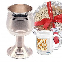 Sterling Silver Luxorious Wine Glass (SLV-9022WN), Best Dad Ever Mug & Dry Nuts Tray