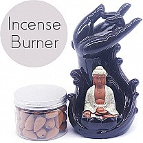 Buddha Backflow Incense Burner - Incense Box Included