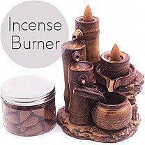 Bamboo Design Backflow Incense Burner (Incense Box Included)