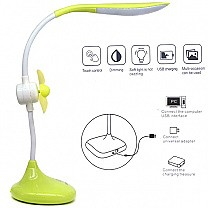 Table Top Rechargeable LED Lamp with Fan- Light Green