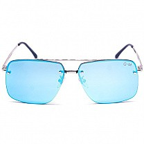 Blue Lens Stylish Metal Frame Sunglasses