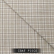 Sangam Suitings Windowpane Pattern Coat Piece - Brown