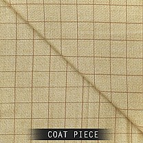 Sangam Suitings Check Pattern Coat Piece - Light Brown