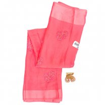 Pink Chiffon Saree With Blouse Piece (Floral Embroidered)