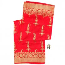 Candy Red Silk Saree With Blouse Piece