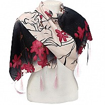 Fashionable Flower Printed Ladies Scarf - Red