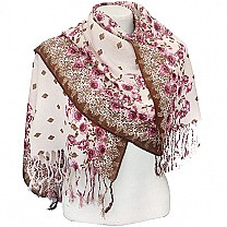 Printed Border Pink Summer Scarf
