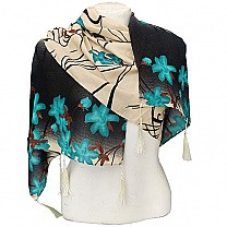 Fashionable Flower Printed Ladies Scarf - Mint