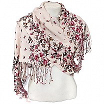 Printed Border Pink Summer Scarf Pink Summer Scarf With Flower Printed Border