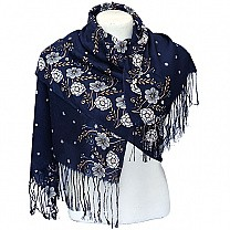 Floral Design Stylish Blue Ladies Scarf