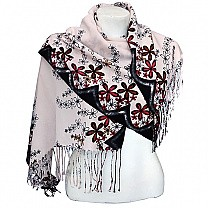 Pink Ladies Summer Scarf With Black Border