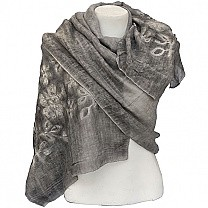 Grey Summer Scarf With Embroidered Chunni