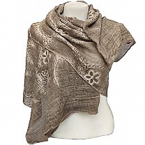 Brown Summer Scarf With Embroidered Chunni