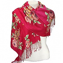 Flower Printed Fashionable Red Summer Scarf