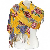 Flower Printed Fashionable Yellow Summer Scarf