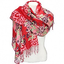 Red Summer Scarf For Ladies - Floral Print