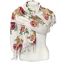 Flower Printed Fashionable White Summer Scarf