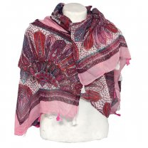 Attractive Design Printed Cotton Scarf For Ladies - Light Pink