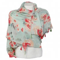 Flower Printed Cotton Scarf For Ladies - Mint Green