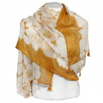 Flower Printed Cotton Scarf For Ladies - Fire Yellow, White