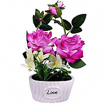 Artificial Pink Rose in a Love Vase