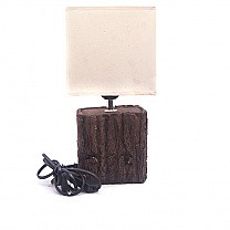 Square Shaped Wooden Base Table Lamp