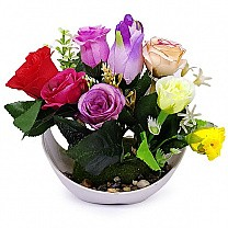 Artificial Mix Roses Bunch in a Beautiful Vase
