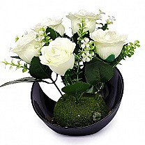 Artificial White Roses Bunch in a Beautiful Vase