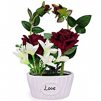 Artificial Red Rose in a Love Vase