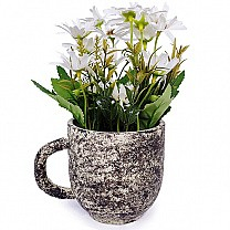 Artificial White Godawari Flower in a Cup Vase