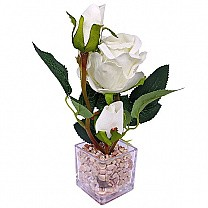 Beautiful Artificial White Rose in a Transparent Vase
