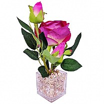 Beautiful Artificial Red Rose in a Transparent Vase
