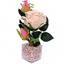 Beautiful Artificial Pink Rose in a Transparent Vase